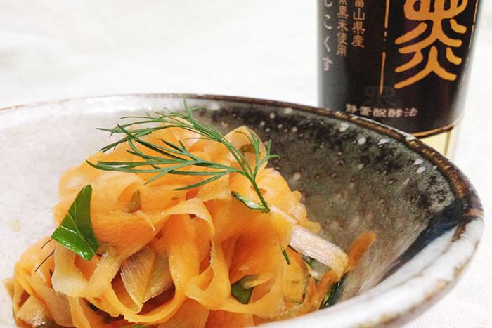 今川酢蔵さんの紫黒酢は、マリネも酢の物も一際香り高くなります