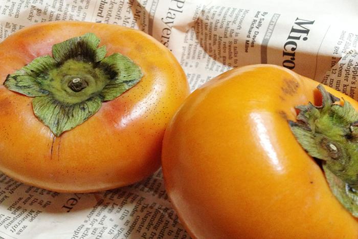 色ツヤともに満点の小林さんの柿